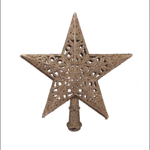 Ponteira Star Vazada Natal Gliter 20X21Cm Rose Gold