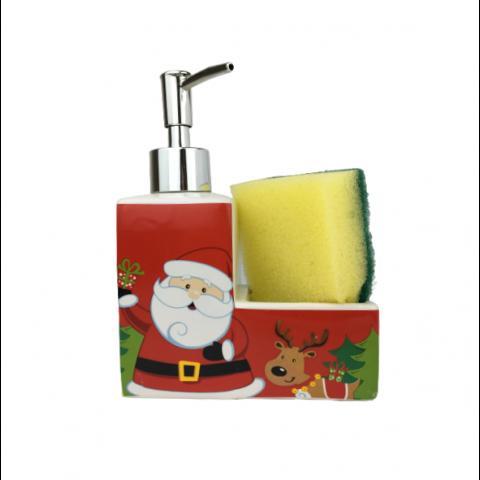 Porta Detergente Com Esponja Natal 2 Peças