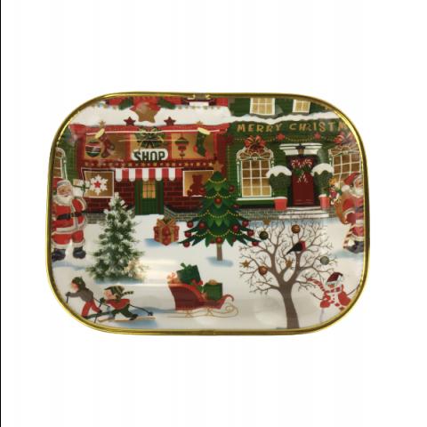 Travessa Plástica Natal Decorativa 31X22 Cm