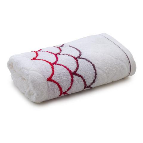 Toalha de Rosto Muriel 48x80 Cm Branco/Vermelho .
