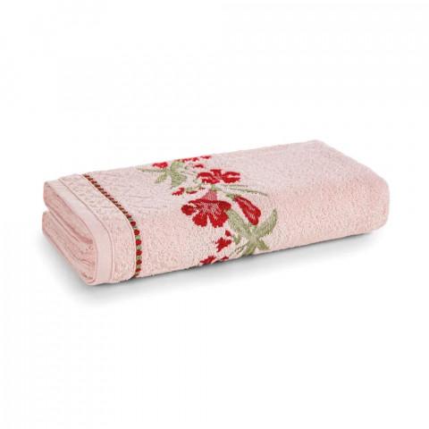 Toalha de Banho Karsten Fio Cardado Caren Rosé/ Vermelho/ Verde