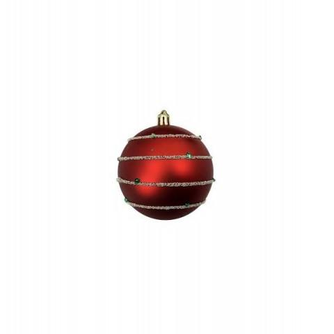 Bola Decorada Natal 8 Cm Vermelho