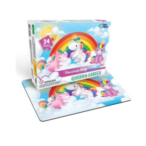 Brinquedo Quebra Cabeça Unicornio Baby 24 Pcs