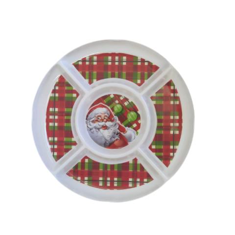 Petisqueira Melamina Natal 5 Divisões 33 Cm Vermelho