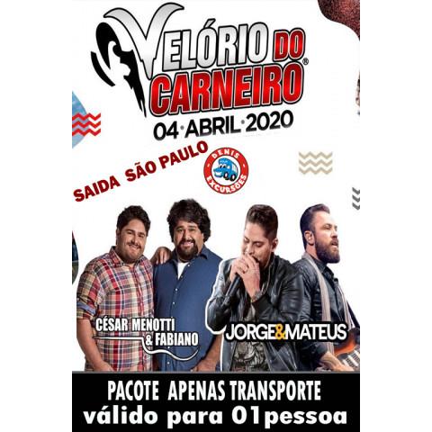 04/04 VELORIO DO CARNEIRO -PACOTE -APENAS TRANSPORTE  SAIDA -SP-(SEM BEBIDA)