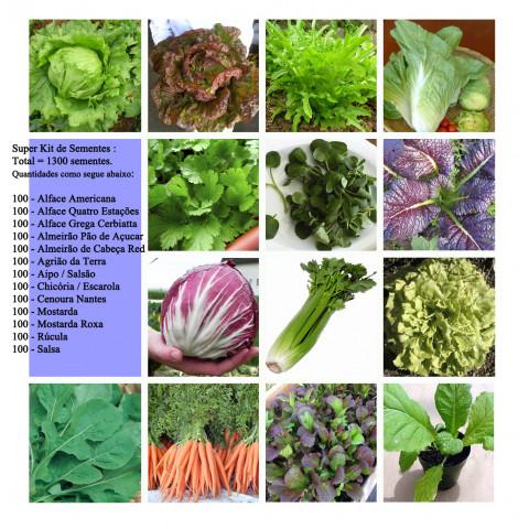 Kit Verduras Legumes Várias Espécies para Horta - 1300 Sementes