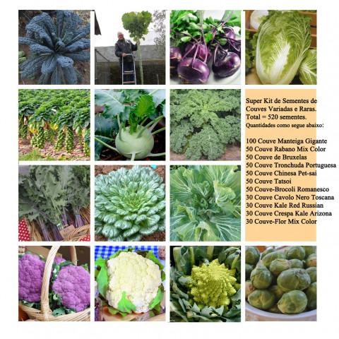 Super Kit Gourmet 3 = 520 sementes Verduras e Legumes