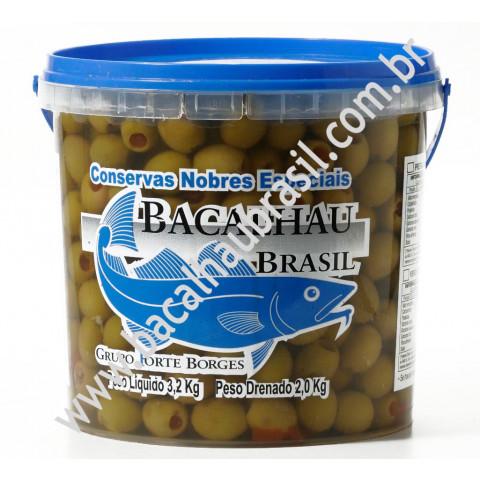 Azeitona Verde recheada com pimentão - Marca Bacalhau Brasil - Balde 2kg