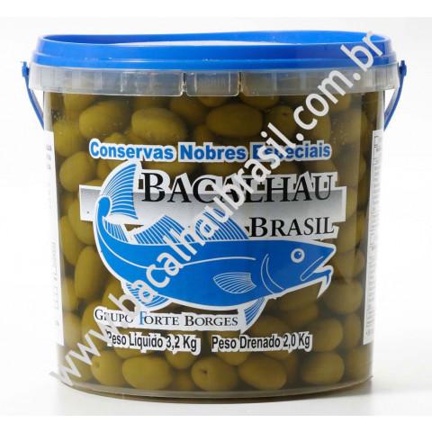 Azeitona Verde com caroço - Marca Bacalhau Brasil - Balde 2kg