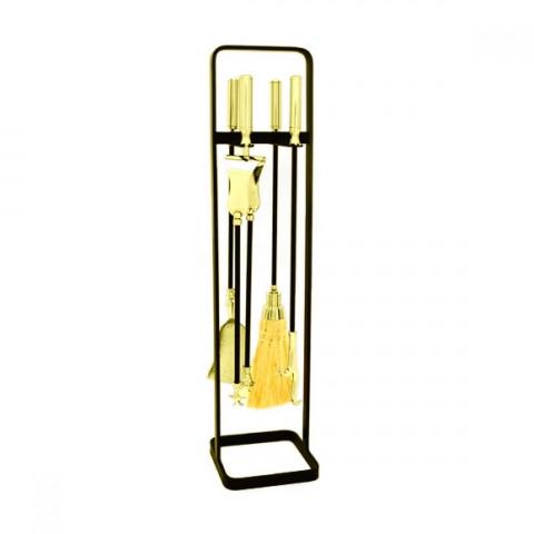 Conjunto De Limpeza Para Lareira - Arco Em Ferro Com Latão E Acessórios Em Latão Dourado