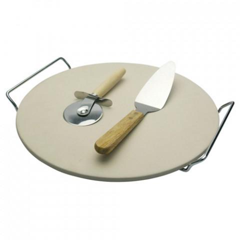 Pedra Para Pizza Com Suporte Cromado 4 Peças 38cm