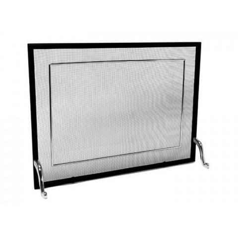 Tela Para Lareira Em Ferro Com Latão Cromado Escovado - 70x50 Cm