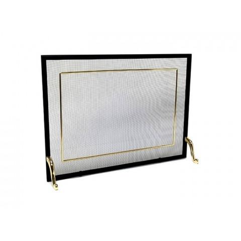 Tela Para Lareira Em Ferro Com Latão Dourado - 60x40 Cm