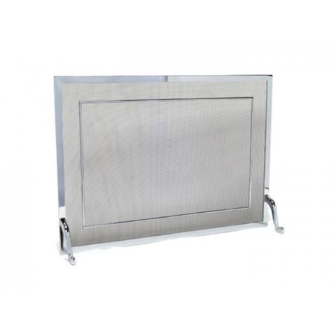 Tela Para Lareira Em Latão Cromado Escovado - 60x40 Cm