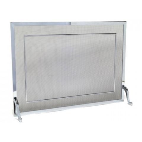 Tela Para Lareira Em Latão Cromado Escovado - 80x60 Cm