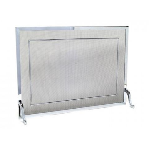 Tela Para Lareira Em Latão Cromado Polido - 70x50 Cm