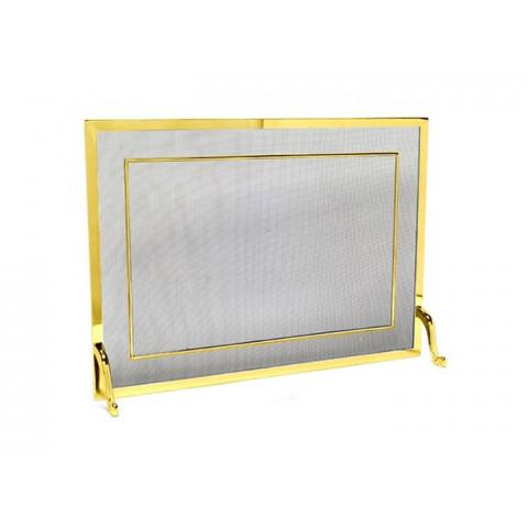 Tela Para Lareira Em Latão Dourado - 60x40 Cm