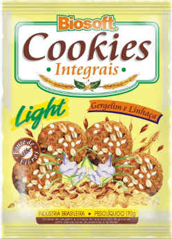 Cookies Integral Light Gergelim e Linhaça - BIOSOFT - 170 gr.
