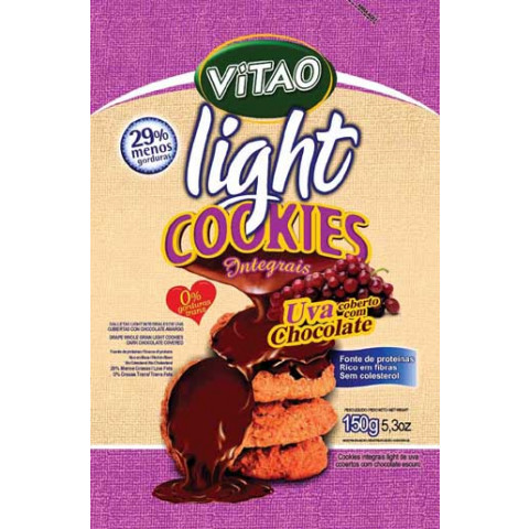 Cookies Integral Light de Uva Coberto com Chocolate - VITAO - 150 gr.