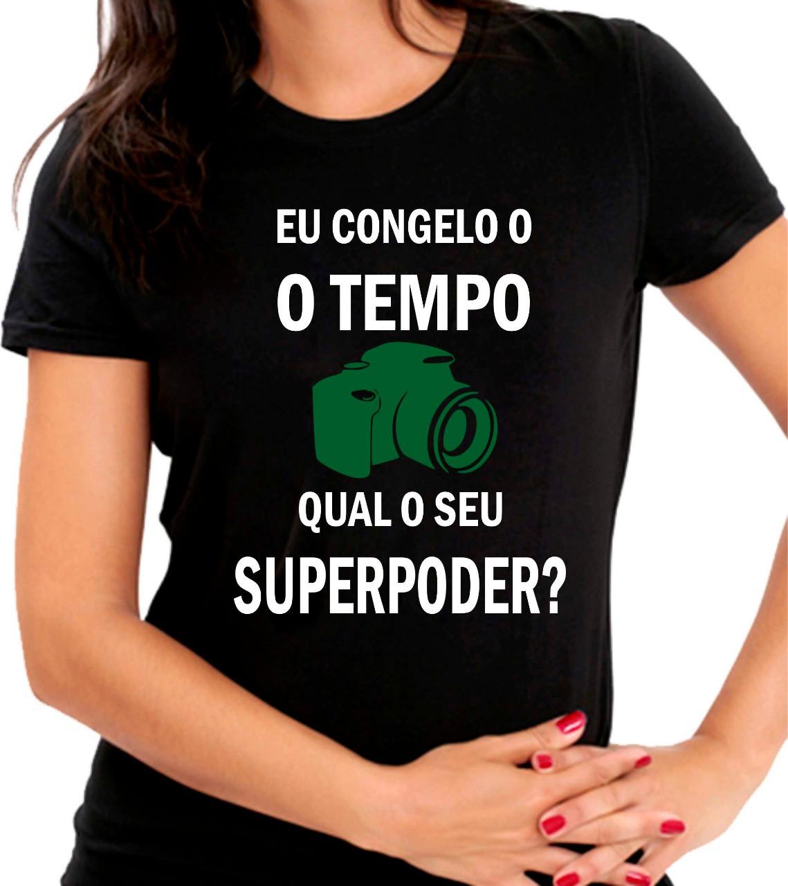 Camiseta Personalizada Preta Eu Congelo O Tempo