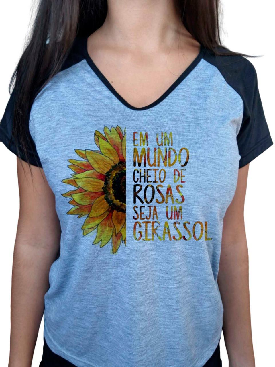 Camiseta Baby Look Cinza Mescla Raglan Seja Um Girassol