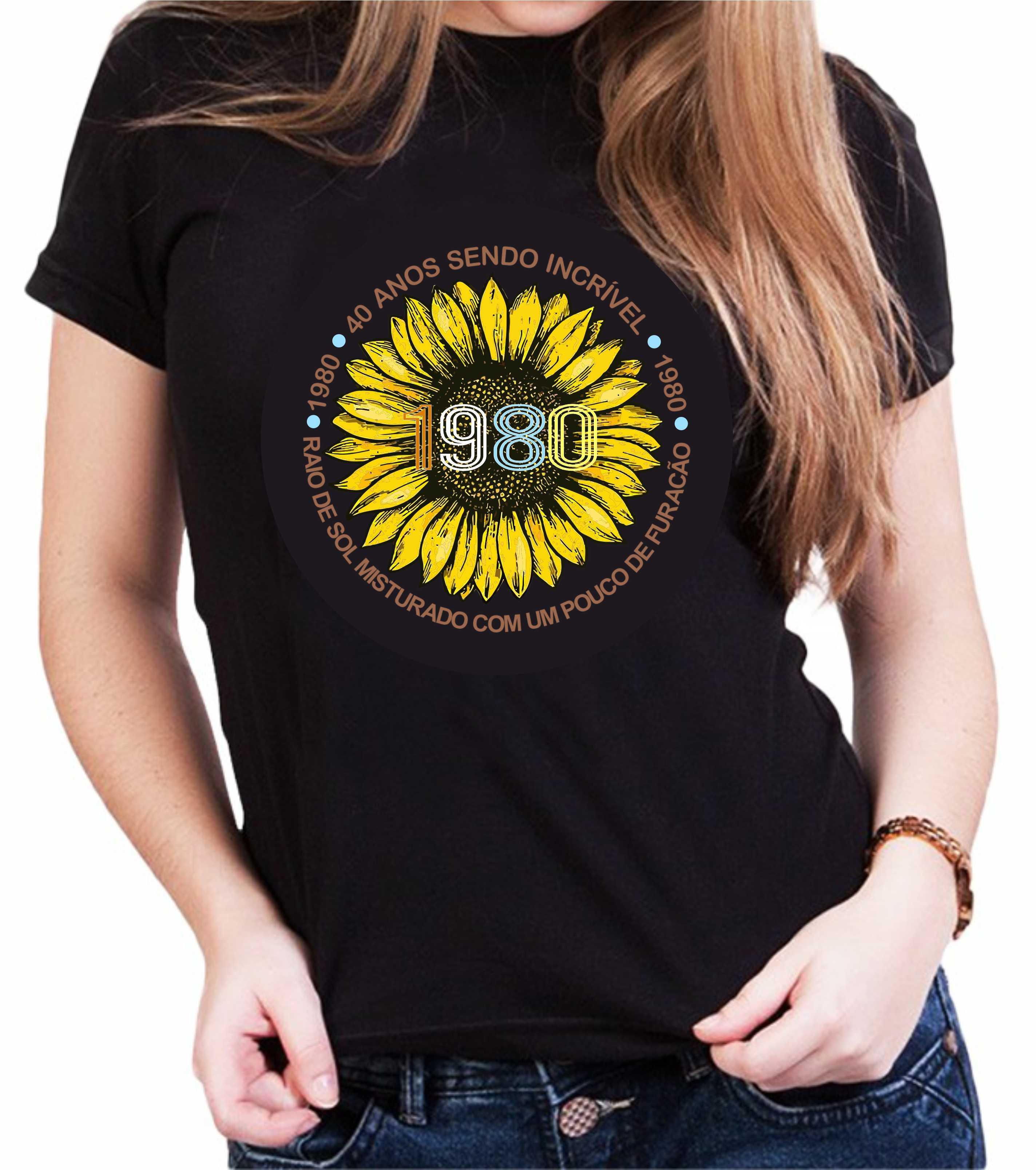 Camiseta Personalizada Preta raio de sol misturado com um pouco de furacão