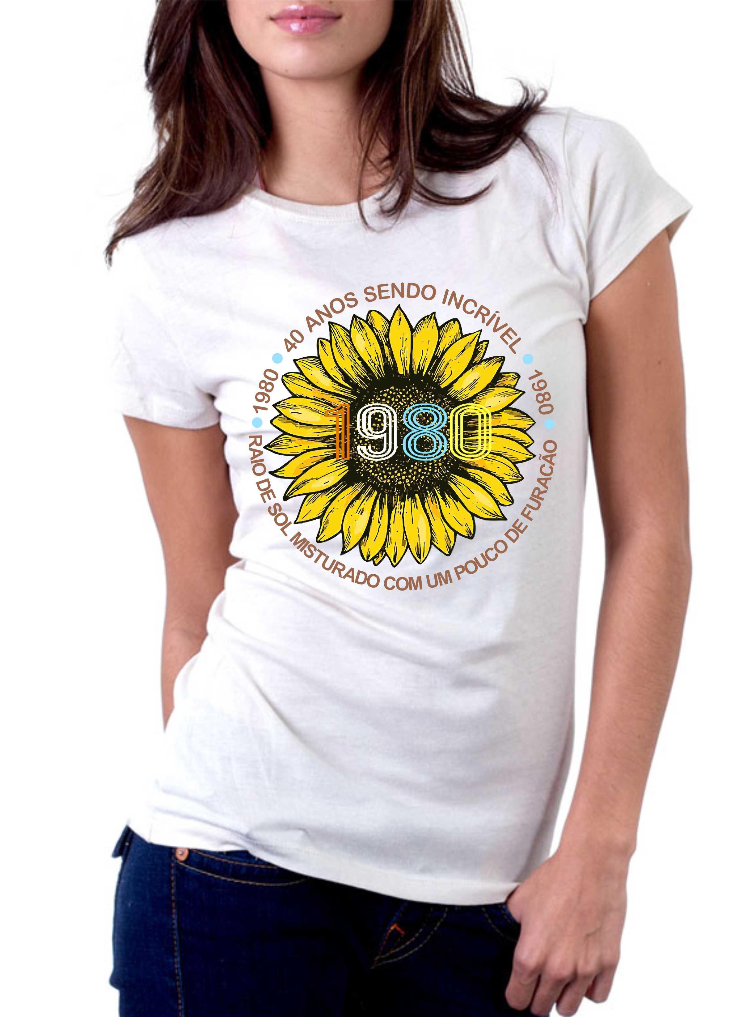 Camiseta Feminina Raio de Sol Misturado Com Um Pouco De Furacão