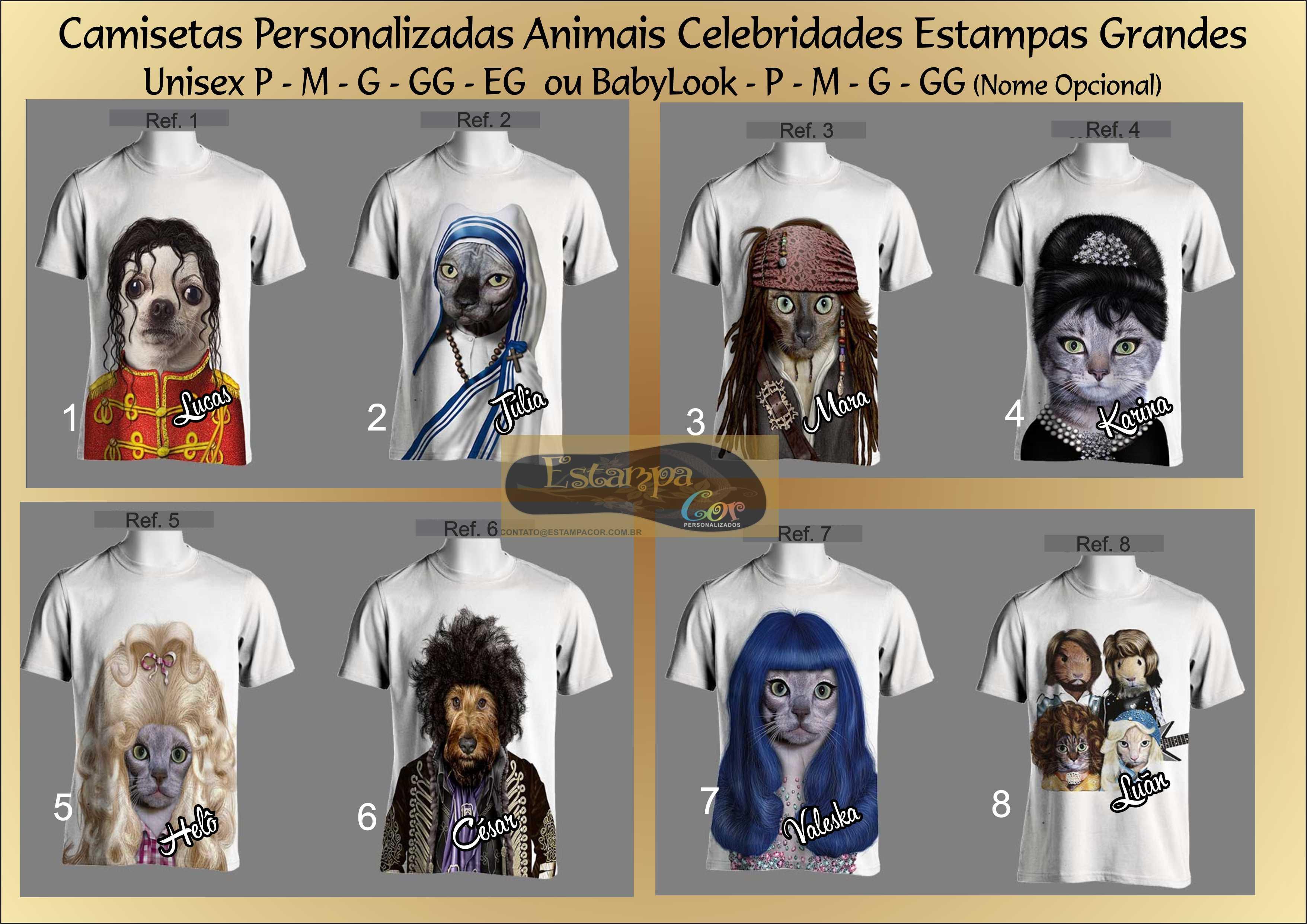 Camiseta Personalizada Animais Famosos II