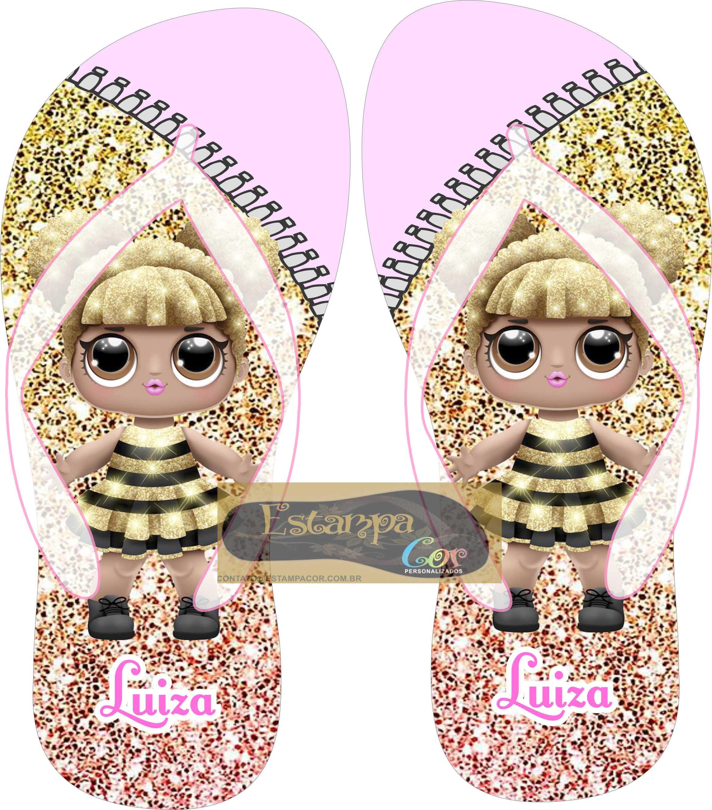 Chinelo Personalizado Boneca Lol Surprise Queen Bee