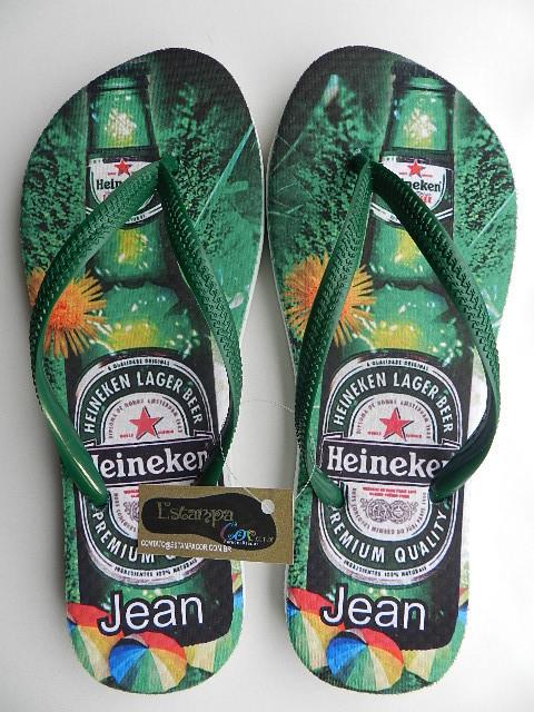 Chinelo Personalizado Cerveja Heineken