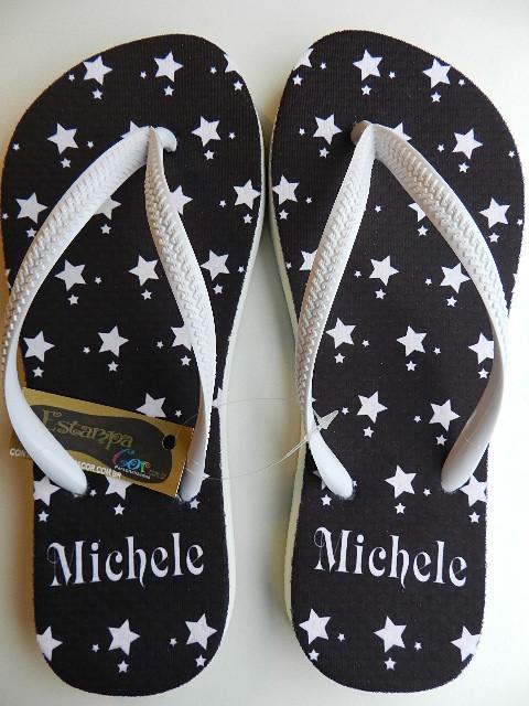 Chinelo Personalizado Estrelas Preto e Branco
