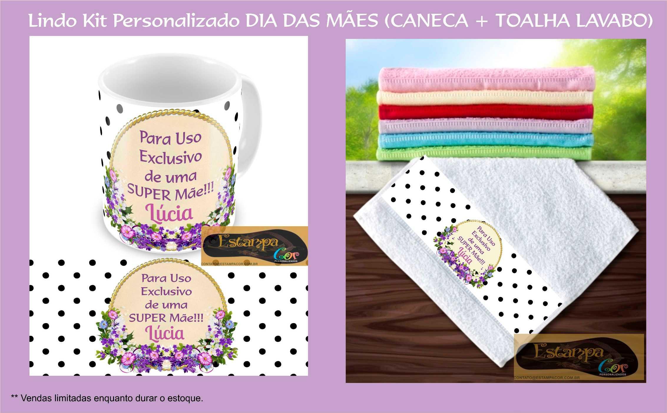 Kit Personalizado Caneca e Toalha Lavabo Dia das Mães Poá