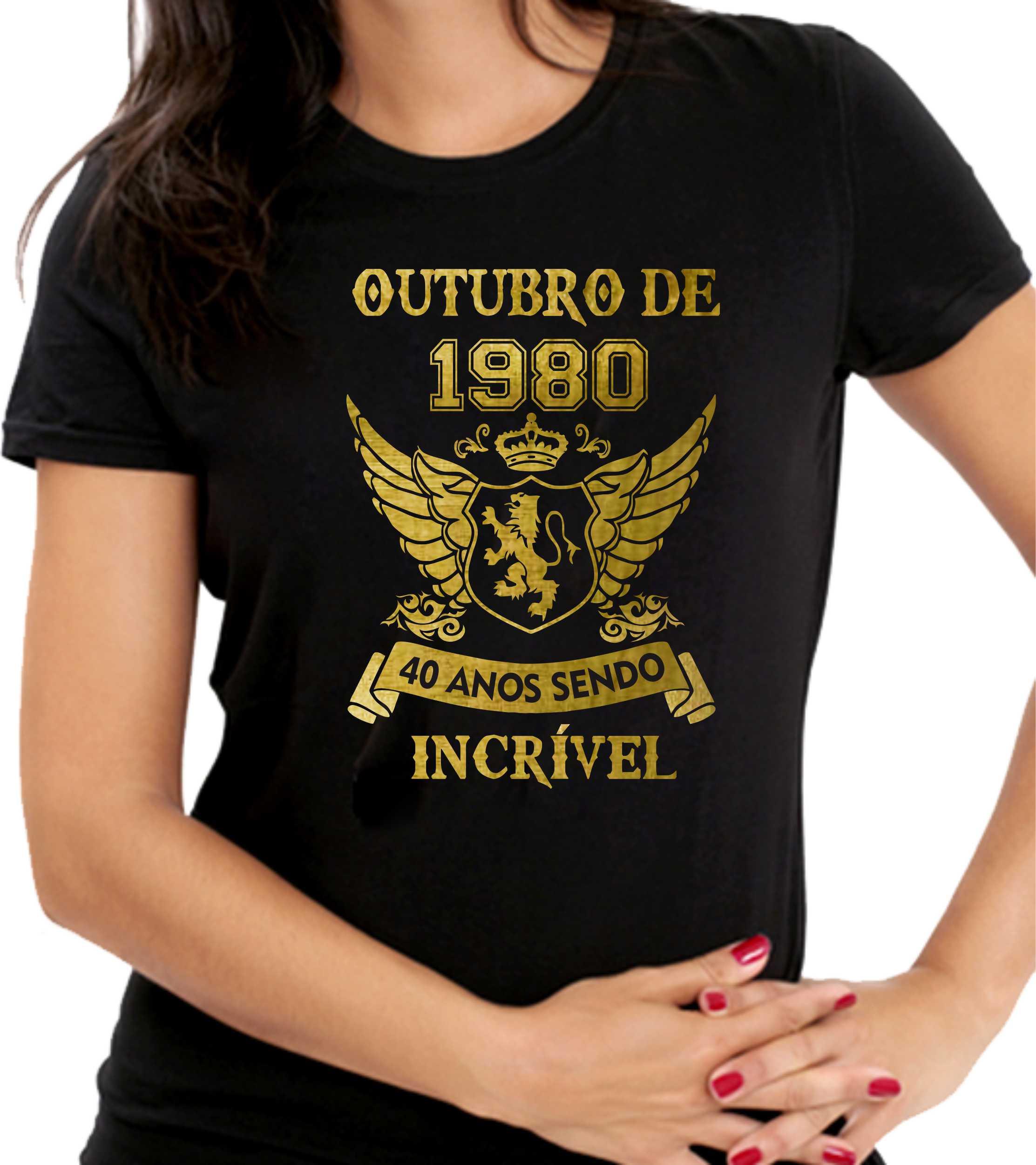Camiseta Personalizada Preta Sendo Incrível - Escolha o Mês Ano e a Idade