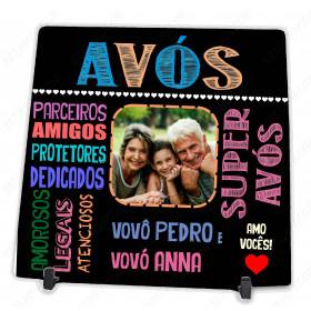 Azulejo Personalizado com Foto dos Avós Presente para o Vovô e Vovó