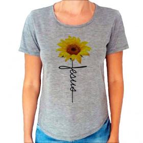 Camiseta T-Shirt Cinza Mescla Jesus