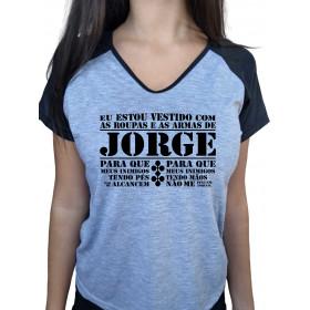 Camiseta Baby Look Cinza Mescla Raglan São Jorge