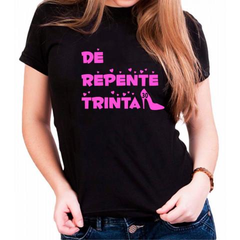 Camiseta Personalizada Preta De Repente 30