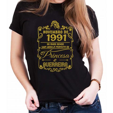 Camiseta Personalizada Preta Princesa e Guerreira Dourada - Escolha a Data