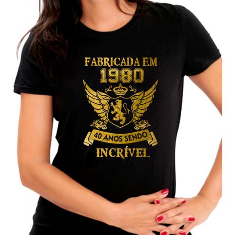 Camiseta Personalizada Preta Fabricada Incrível - Escolha o Ano e a Idade