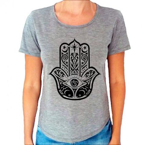 Camiseta T-Shirt Cinza Mescla Mão De Fátima