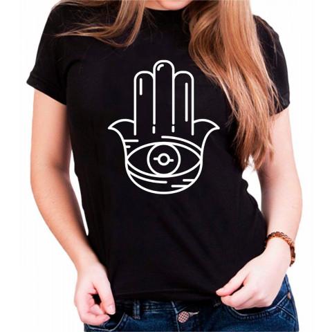 Camiseta Personalizada Preta Mão De Fátima