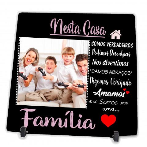 Azulejo Personalizado Quadro Presente com Foto da Família