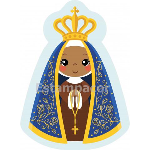 Recorte em Tecido Naninha Almofada Contornada Nossa Senhora Aparecida