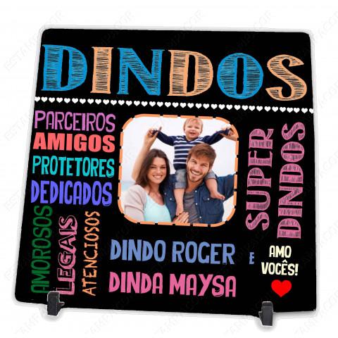 Azulejo Personalizado com Foto dos Dindos Presente para o Dindo e Dinda