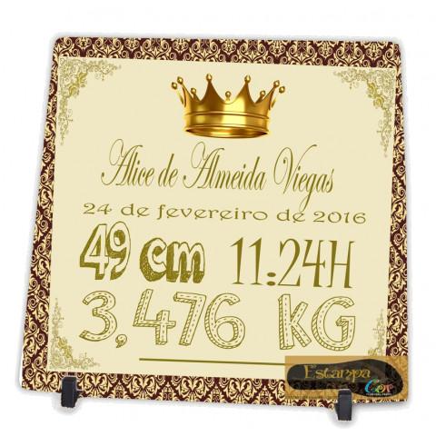 Azulejo Personalizado Lembrança de Nascimento Coroa Dourada