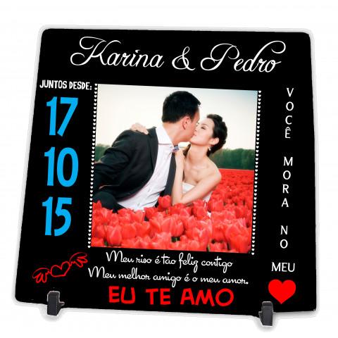 Azulejo Personalizado com Foto Casal Dia dos Namorados Presente Namoro
