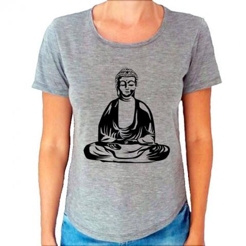 Camiseta T-Shirt Cinza Mescla Buda