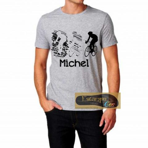 Camiseta Personalizada Cinza Mescla Ciclista