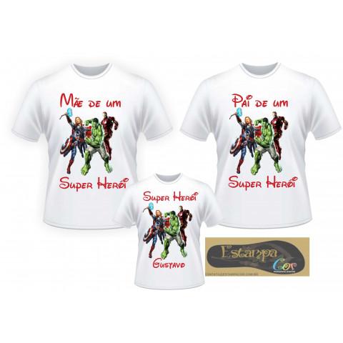 Camiseta Personalizada Família Vingadores (monte o seu Kit)