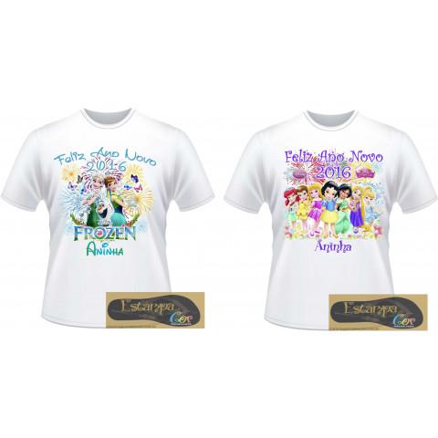 Camiseta Personalizada Feliz Ano Novo Princesas